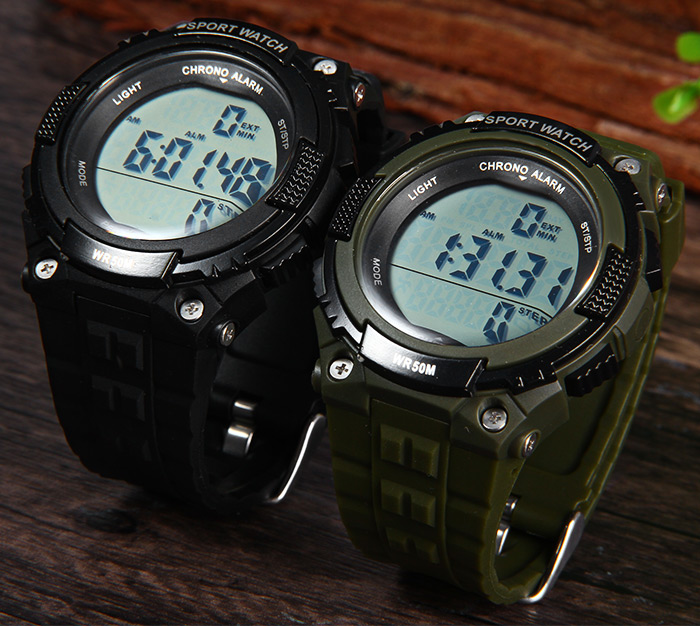 Skmei 1112 Multifunctional 3D Pedometer Male Wristwatch with PU Band