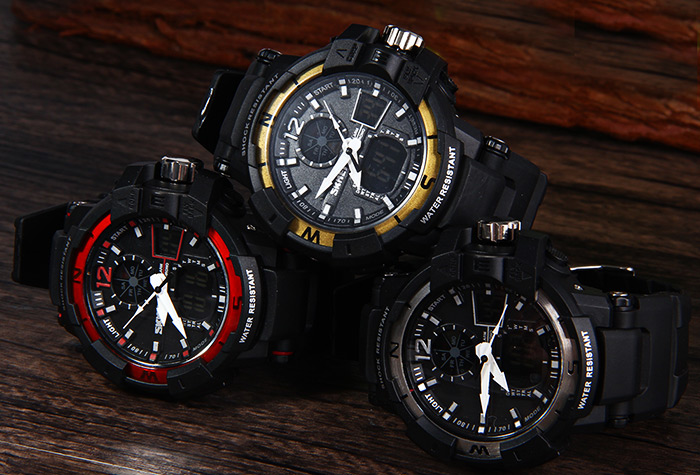 Skmei 1040 Army LED Dual-movt Wristwatch Week Stopwatch 5ATM Water Resistant Military Watch for Sports