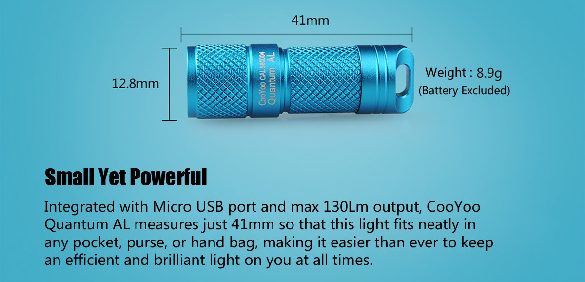 CooYoo Quantum AL Cree XP G2 130Lm Rechargeable LED Flashlight
