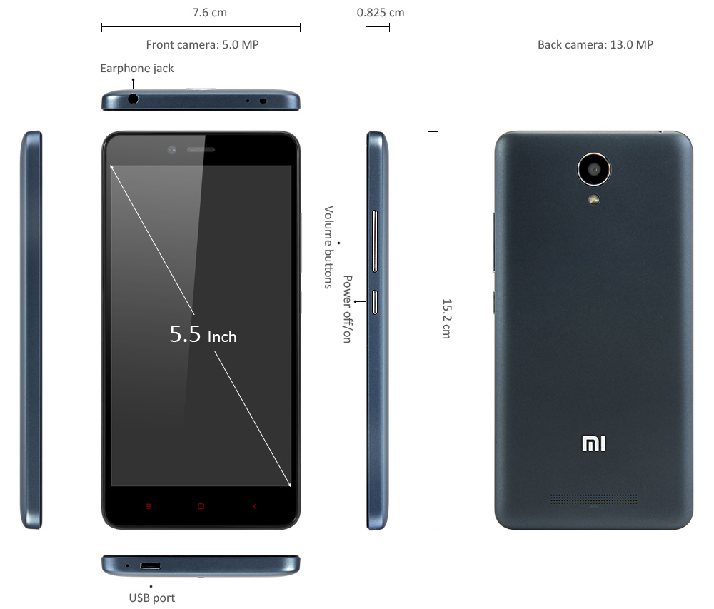 XiaoMi RedMi Note 2 Overseas Version Android 5.0 4G Phablet with 5.5 inch FHD Screen MTK Helio X10 64bit 2.0GHz Octa Core 2GB RAM + 16GB ROM