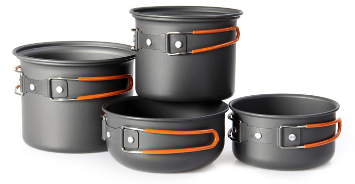 NatureHike 4 in 1 Camping Pots Set Aluminum Alloy Made for Outdoor Picnic