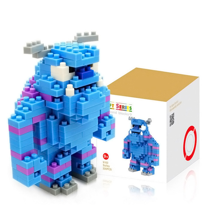LOZ 220Pcs Anime Monsters University Sulley Building Block Creative ABS Material Kid Toy M - 9163