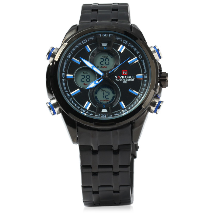 Naviforce NF9049M Double Movt Male Quartz LED Watch for Sports