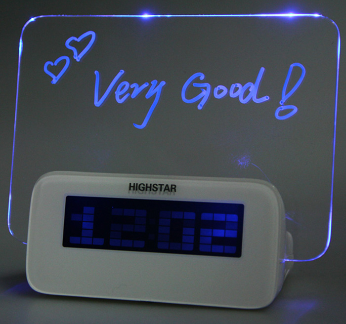 Multifunctional Highstar Electric Clock with Memo Board Blue Light Display for Gift Home Supplies