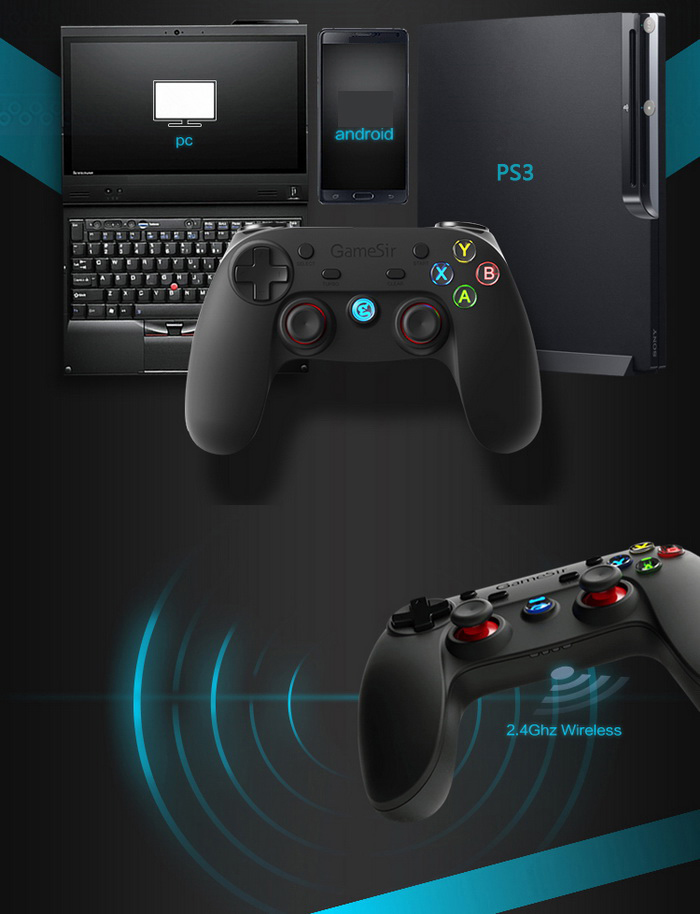 Gamesir G3s Series Wireless 2.4GHz Bluetooth 4.0 Controller Gamepad Control for Android / iOS / PC / PlayStation3 Gaming with Bracket (Enhanced Edition)