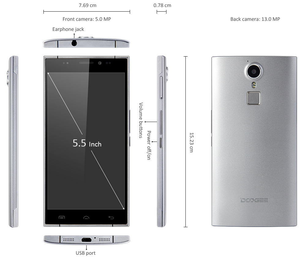 DOOGEE F5 Android 5.1 4G Phablet 5.5 inch FHD Screen MTK6753 64bit 1.3GHz Octa Core 3GB RAM 16GB ROM 13MP Camera