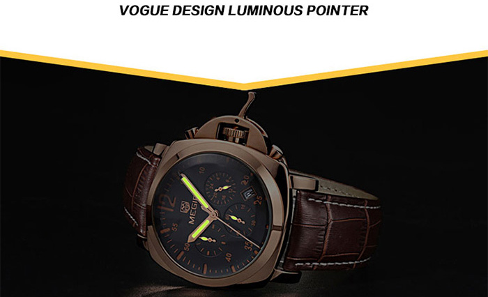 MEGIR 3009 Date Function Water Resistant Male Japan Quartz Watch with Genuine Leather Band Working Sub-dials