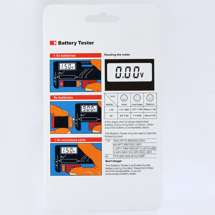 BT-168D LCD Digital Battery Tester for AA / AAA / 9V Button Cell