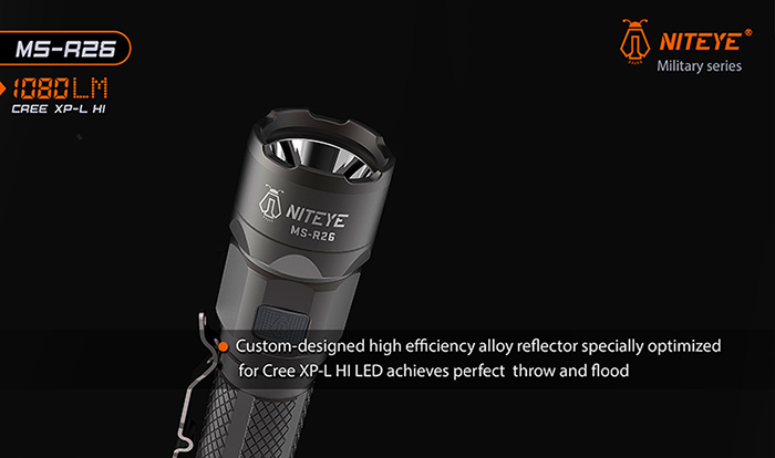 NITEYE MS - R26 Cree XP-L Hi 1080Lm Rechargeable LED Flashlight
