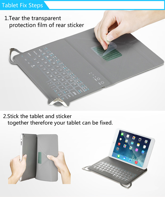 Motospeed BK30 2 in 1 Foldable Bluetooth 3.0 Keyboard with Protective Leather Case for 10 inch Tablet