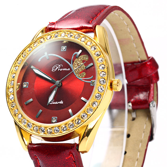 Prema Female Quartz Watch Diamond Bezel Leather Watchband