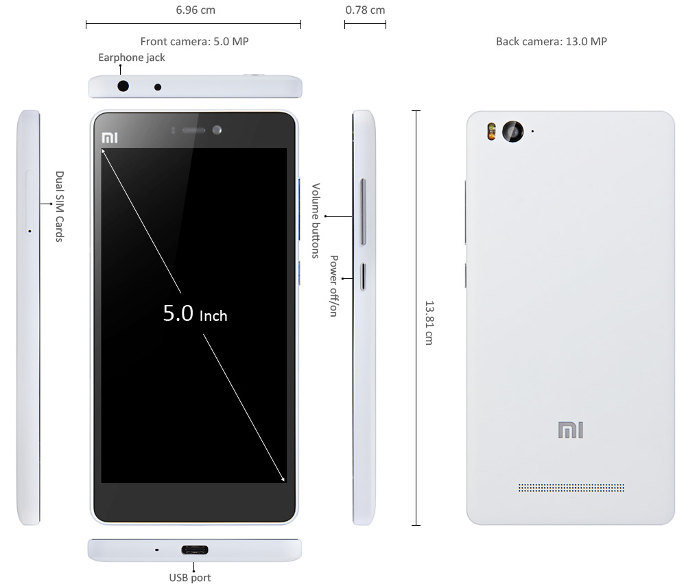 5.0 inch XIAOMI Mi4C 4G Smartphone Android 5.1 Snapdragon 808 64-bit Hexa Core 1.44GHz 13.0MP + 5.0MP Dual Camera 16GB ROM GPS