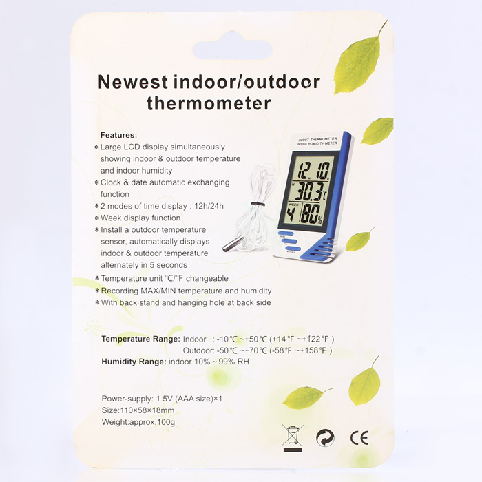 KT-908 Multi-functional LCD Digital Indoor Outdoor Thermometer Hygrometer with Clock / Date Automatic Exchanging Function