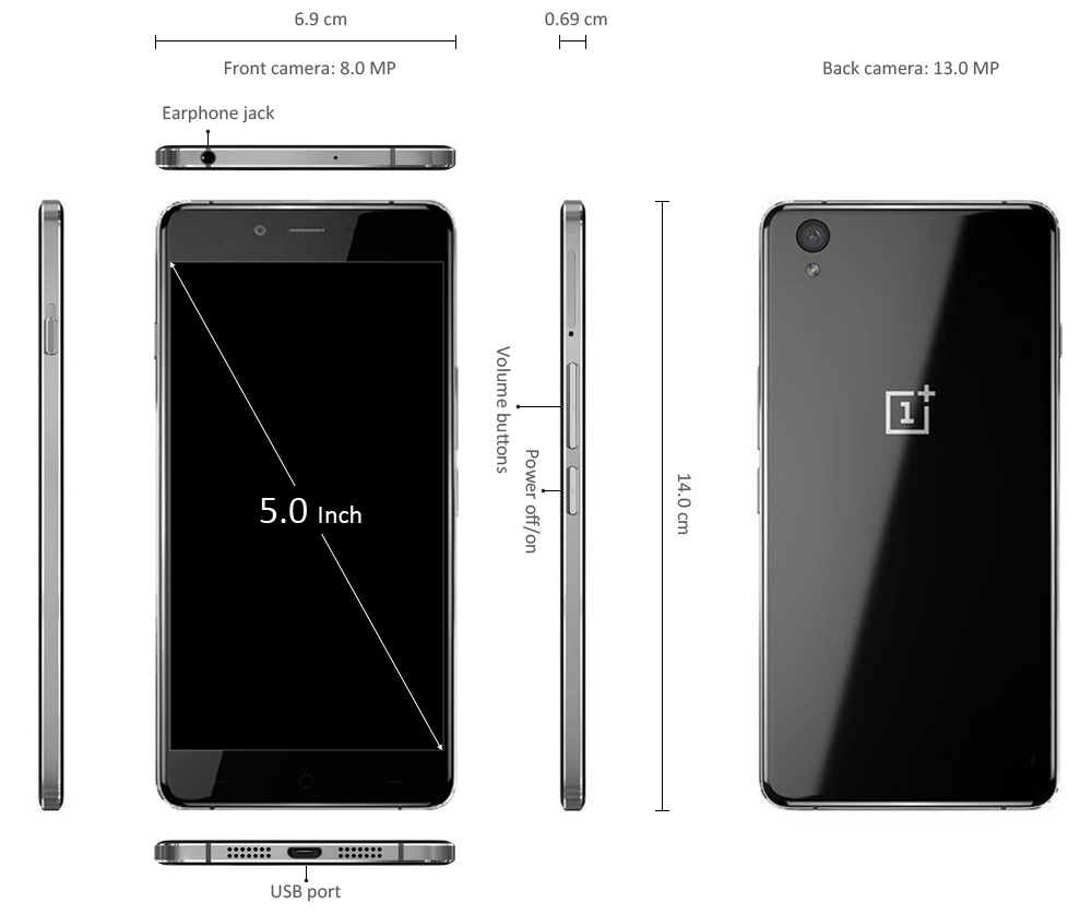 ONEPLUS X Android 5.1 5.0 inch 4G Smartphone Qualcomm Snapdragon 801 Quad Core 2.3GHz 2GB RAM 16GB ROM 2.5D IPS Screen
