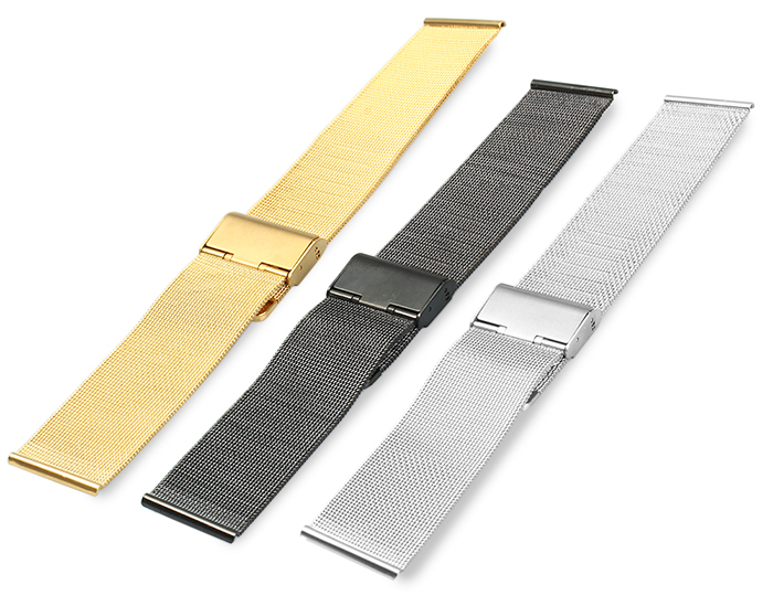 24mm Stainless Steel Mesh Bracelet Watch Band Replacement Strap for Men Women