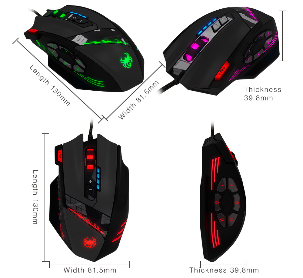 ZELOTES C-12 12 Key Wired USB Optical Game Mouse 4000DPI for Windows XP / Vista / 7 / 8