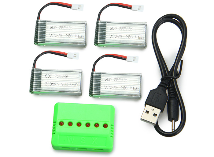 Upgraded Accessory Set for Mould King 33041 33041A 4 x 3.7V 380mAh 25C Battery / X6 Charger
