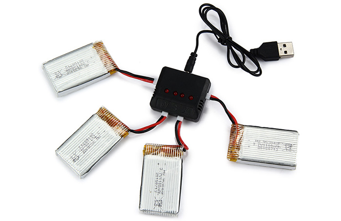Battery Charging Set 4 x 1100mAh LiPo + 1 to 4 Balance Charger for Syma X5SC / X5SW Quadcopter