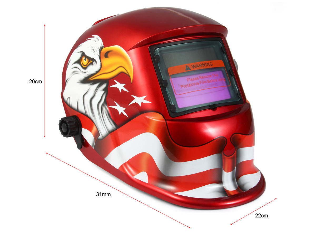 BLZY-107 Solar Powered Auto Darkening Welding Helmet Eagle Adjustable Sensitive / Delay Time for Arc Tig Tin