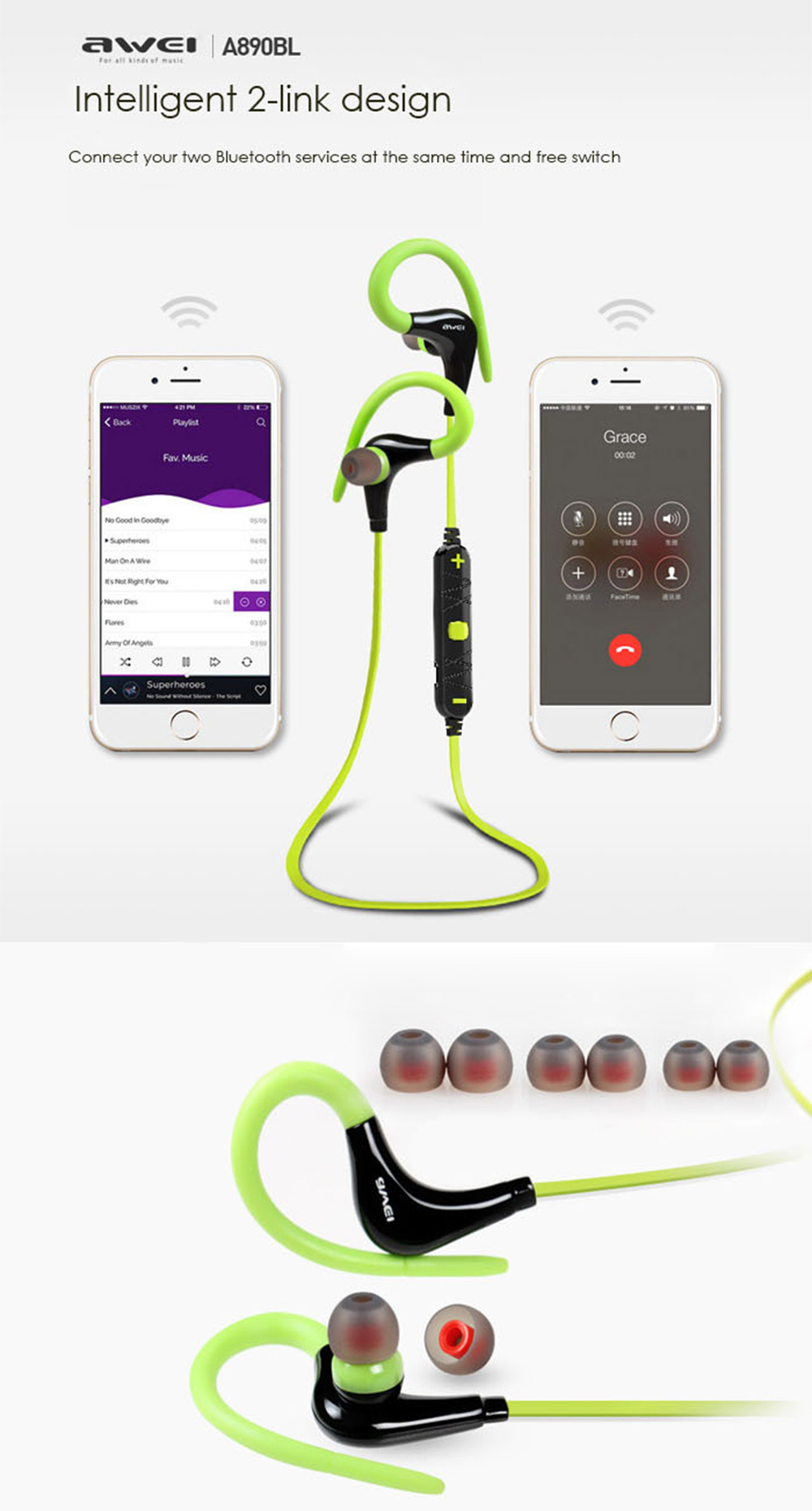 Awei A890BL Wireless Sports Bluetooth 4.0 Earphone with Handsfree Function