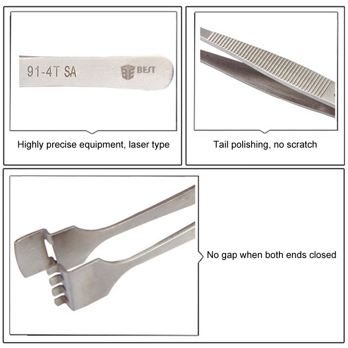 BEST 91-4T SA Stainless Steel Wafer Tweezer Maintenance Tools for Aviation