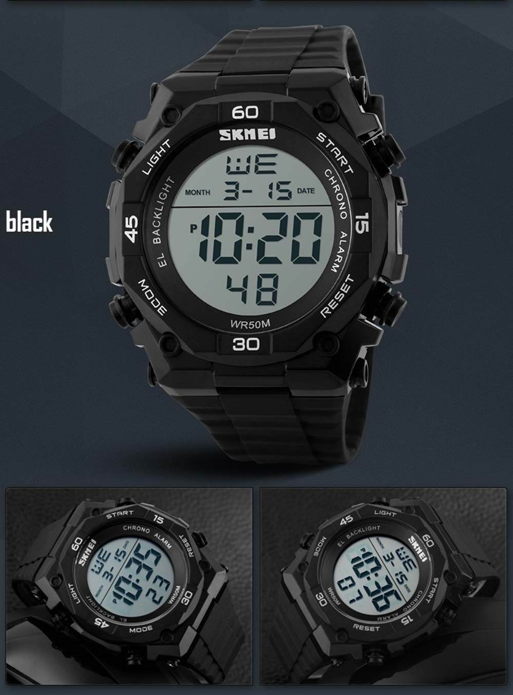 Skmei 1130 Sports Men Digital Wrist Watch Week Alarm Backlight  5ATM Water Resistant