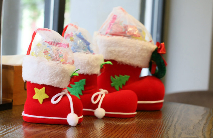 Lovely Candy Boots Christmas Socks Party Decoration