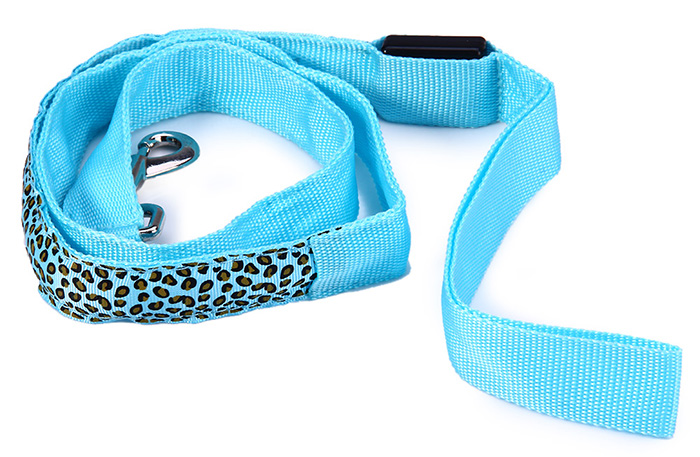 3 Modes LED Pet Leashes Glowing Leopard Print Design Puppy Traction Belt