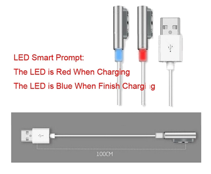 1m LED Smart Prompt Magnetic Charging Cable