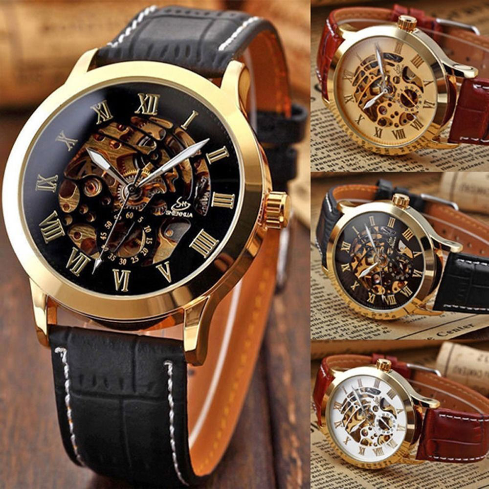SHENHUA 9269 Men Hollow Automatic Mechanical Watch with Leather Band Roman Scale