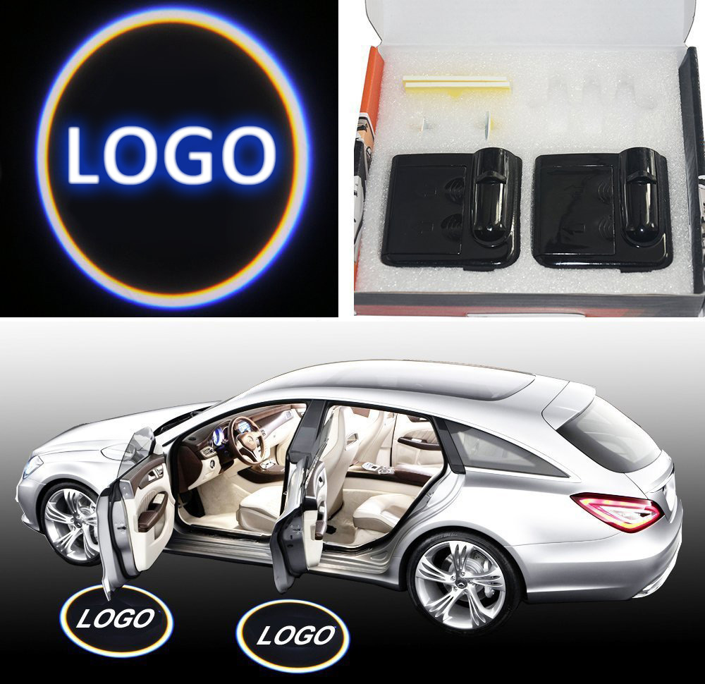 2PCS No Drill Type Car Door Logo Badge Welcome Lights Cree LED Laser Ghost Shadow Projector Lamps Universal for KIA