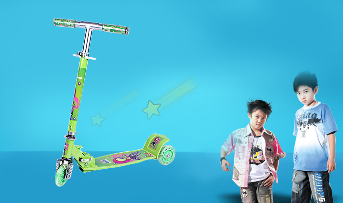 Hanchi 778B Three Wheel Kick Scooter with Cartoon Pattern for Kids