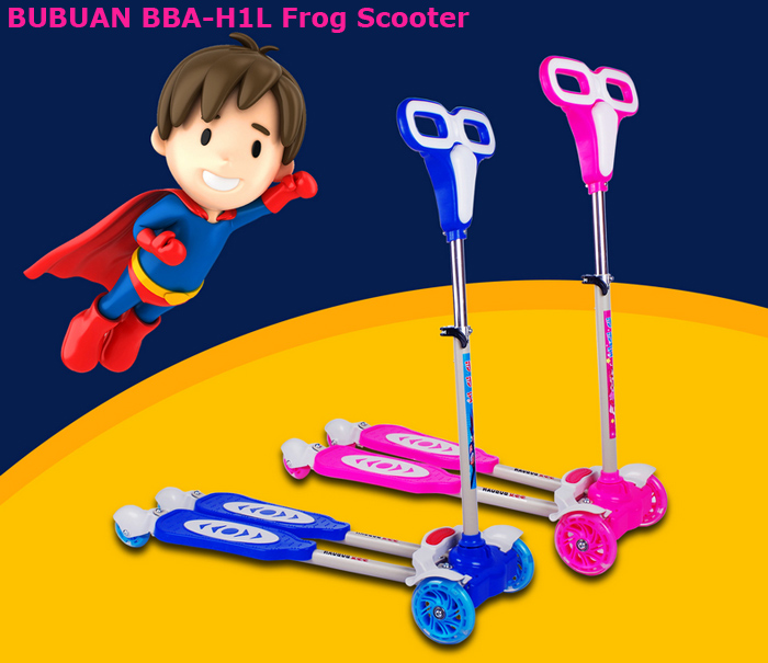 BUBUAN BBA-H1L Kids 4-Wheel Frog Kick Scooter with Adjustable Tube