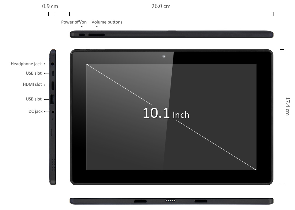 10.1 inch PIPO W1S Windows 10 Tablet PC Intel Atom X5-Z8300 64bit Quad Core 1.84GHz WUXGA IPS Screen 2GB RAM 32GB ROM WiFi Bluetooth 4.0 HDMI Support