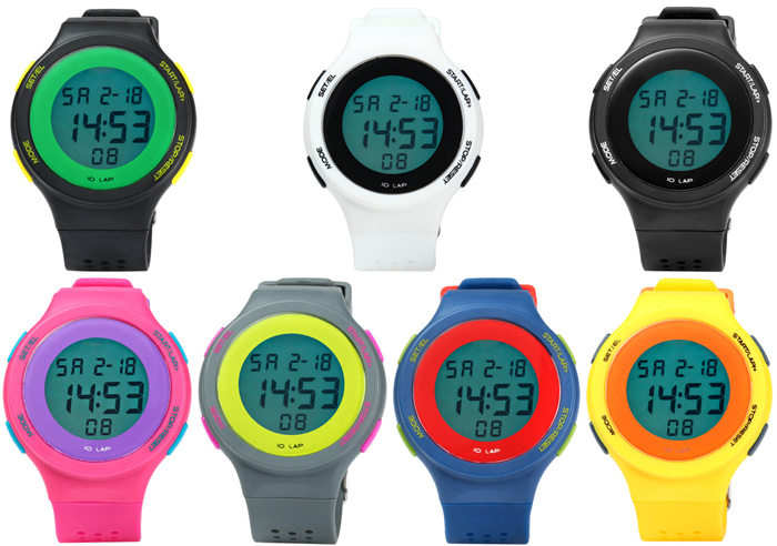 Sports LED Watch with Alarm Date Day Stopwatch Function