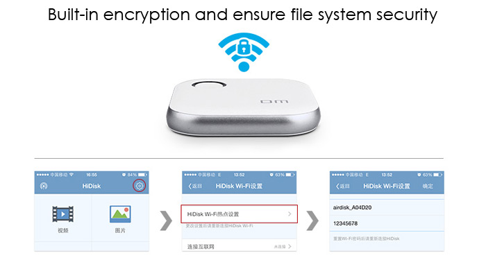 DM S3 WFD015 64GB Wireless WiFi Phone U Disk Expansion for iPhone iPad iOS / Android with LED Indicator Light