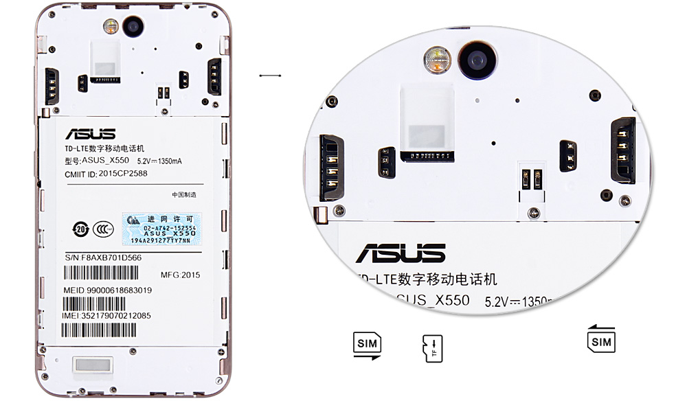 ASUS X550 5.5 inch 4G Phablet Android 5.1 Qualcomm Snapdragon MSM8939 64bit Octa Core 1.5GHz 3GB RAM 32GB ROM 13.0MP + 8.0MP Cameras
