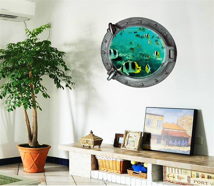 3D Underwater World and Fish Style Removable PVC Wall Stickers Colorful Room Window Decoration
