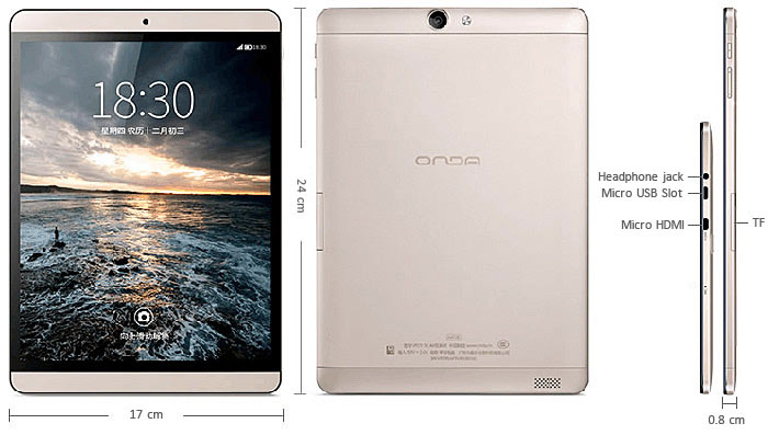 9.7 inch Onda V989 Air Android 4.4 Tablet PC QXGA IPS Screen A83T Octa Core 1.8GHz 2GB RAM 16GB ROM WiFi Bluetooth
