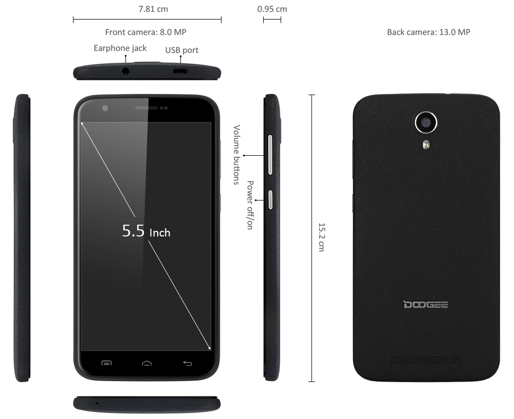 DOOGEE Y100 Plus Android 5.1 4G Phablet 5.5 inch 2.5D Corning Gorilla Glass MTK6735 64bit Quad Core 2GB RAM 16GB ROM OGS Screen 13MP Camera