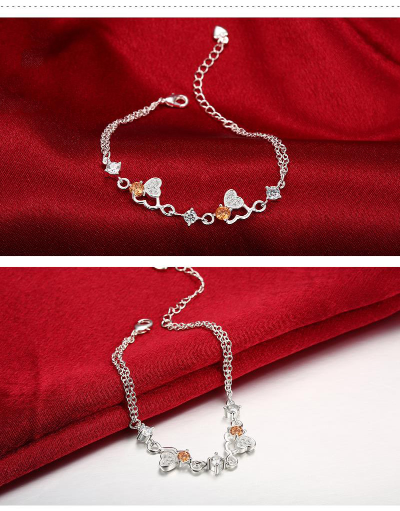 Fashion Bracelet Close Heart Silver Plated Jewelry Accessories for Women