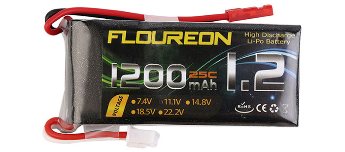 FLOUREON JST Plug 11.1V 1200mAh 25C Battery RC Helicopter Airplane Vehicle Model Spare Part