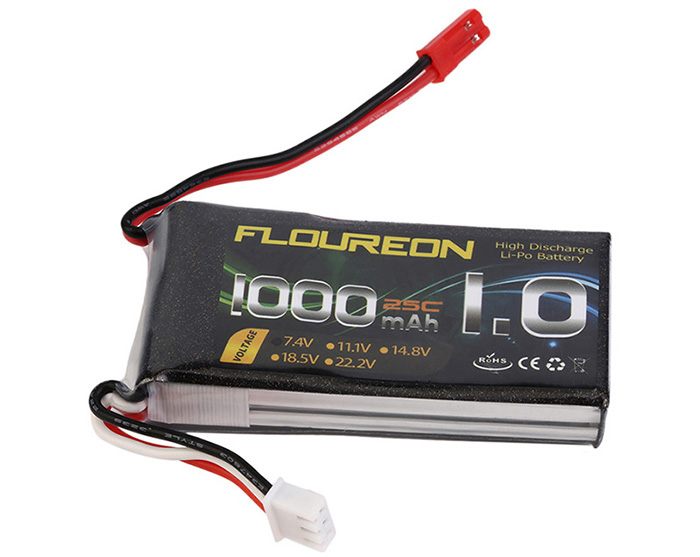 FLOUREON JST Plug 7.4V 1000mAh 25C Battery RC Helicopter Airplane Vehicle Model Spare Part