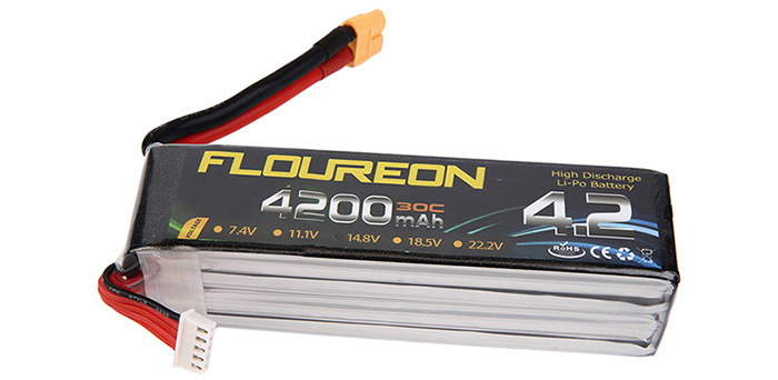 FLOUREON XT60 Plug 14.8V 4200mAh 30C Battery RC Helicopter Airplane Vehicle Model Spare Part