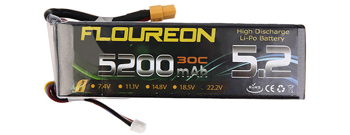 FLOUREON XT60 Plug 22.2V 5200mAh 30C Battery RC Helicopter Airplane Vehicle Model Spare Part