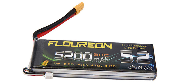 FLOUREON XT60 Plug 7.4V 5200mAh 30C Battery RC Helicopter Airplane Vehicle Model Spare Part