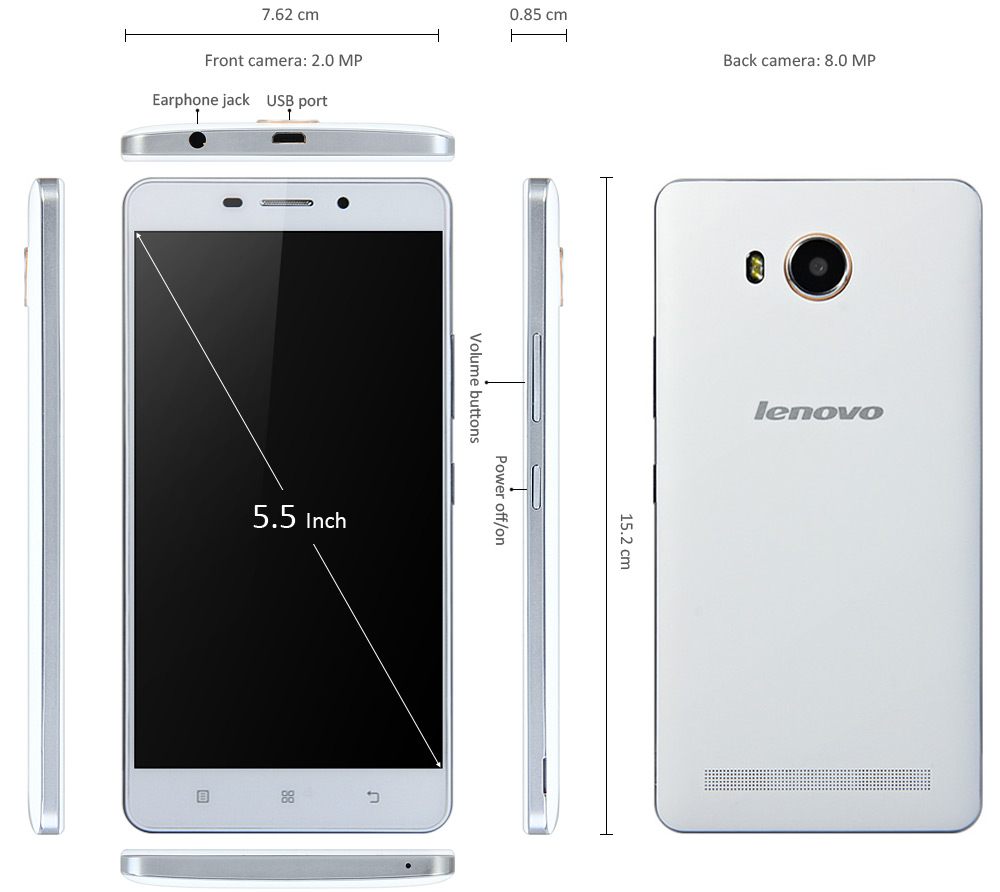 Lenovo A5600 5.5 inch 4G Phablet Android 5.1 MTK6735 64bit Quad Core 1.0GHz 1GB RAM 8GB ROM 8.0MP Main Camera