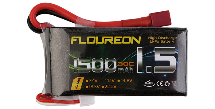 FLOUREON T Plug 11.1V 1500mAh 30C Battery RC Helicopter Airplane Vehicle Model Spare Part