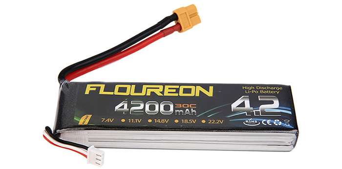 FLOUREON XT60 Plug 7.4V 4200mAh 30C Battery RC Helicopter Airplane Vehicle Model Spare Part