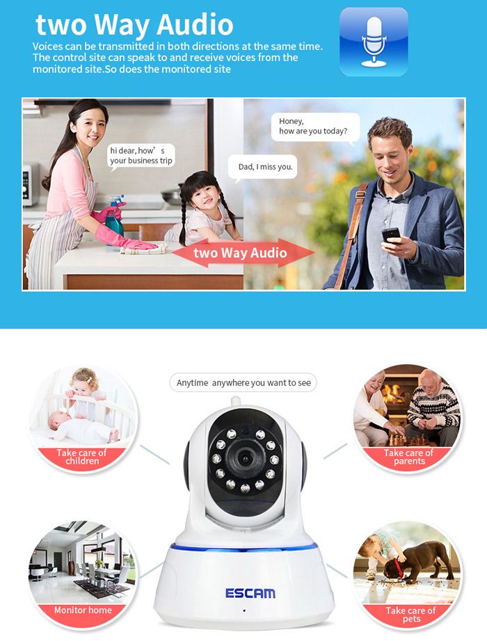 ESCAM QF002 IP Camera WIFI 720P P2P Night Vision Support Android IOS for Home Company